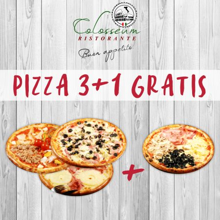 Beneficiaza de oferta 3+1 gratis de la Pizza Colosseum!